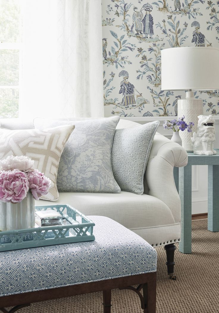 Kendall Sofa In Cumulus Woven Fabric In Snow White, Parker Bench In Laos  Printed Fabric