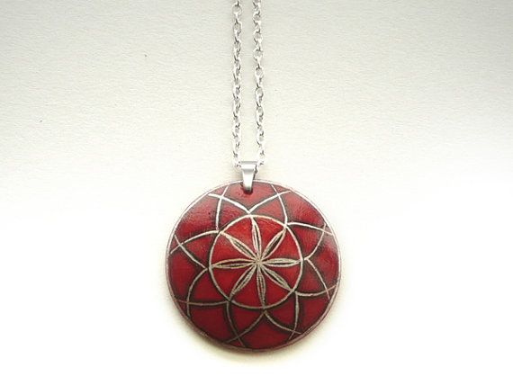 Red Art Red Pendant Hand Painted Jewelry Wine Red by ARTDORA