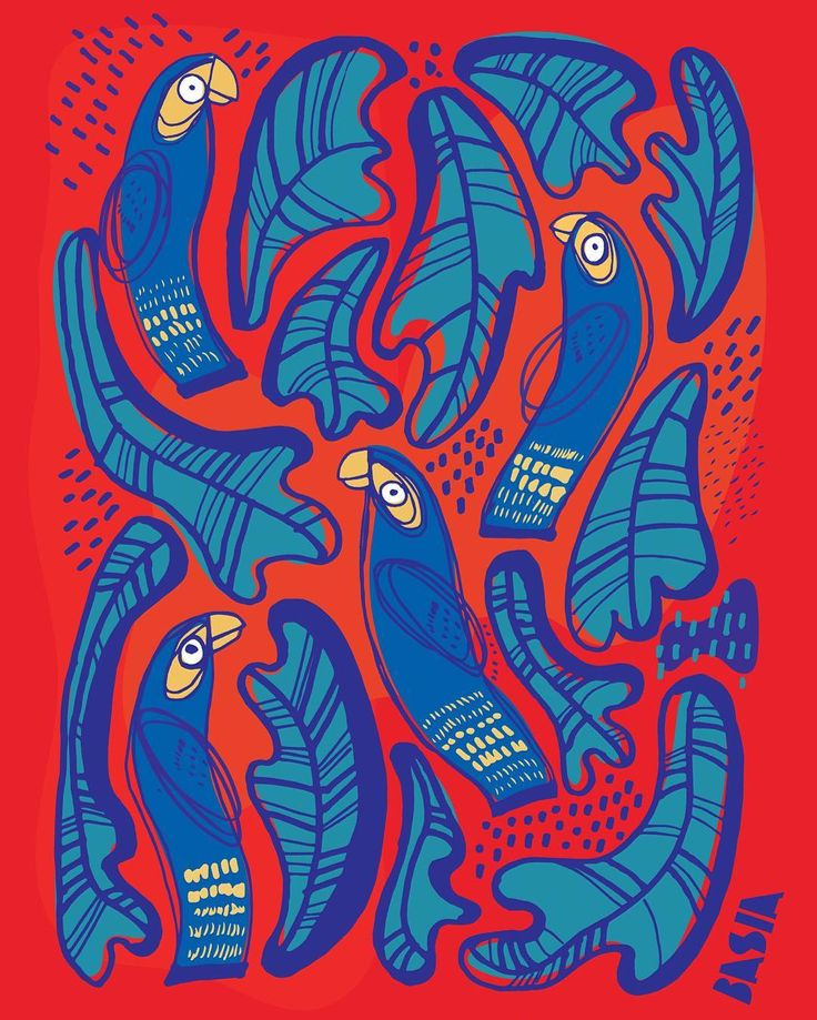 new pattern – feel the jungle energy! www.basiaillustration.com #parrot #pattern #illustration #design #jungle #arara #parrots #art #desenhar #picame #jungalowstyle #tropical #colors #papagaio #arte #amazonas #decor #decore #brazilarte #bird #colorbirds #red #blue #azul #blueandred #araraazul