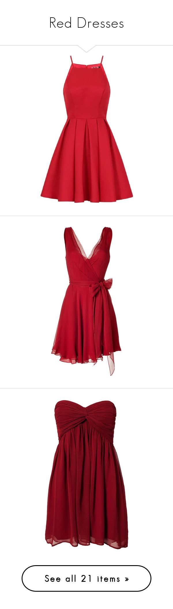 """Red Dresses"" by whims-and-craze ❤ liked on Polyvore featuring dresses, vestidos, red, petite, red dress, petite red dress, chi chi dresses, fit and flare dress, petite fit and flare dresses and short dresses"