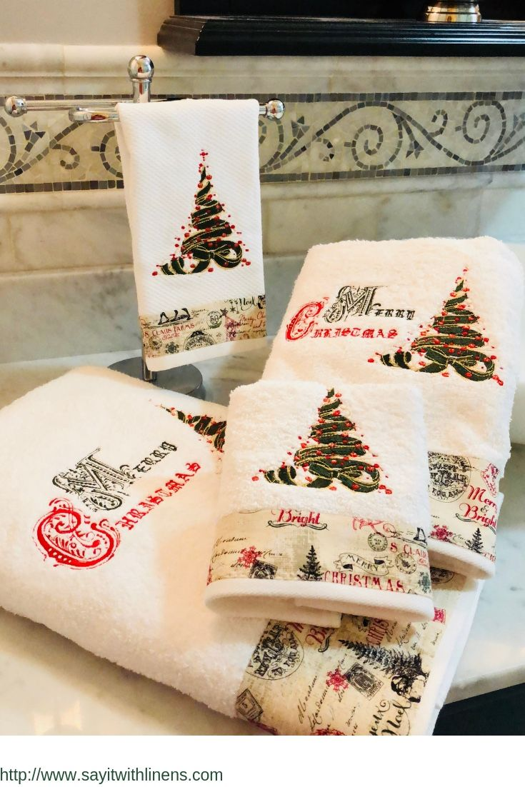 Merry Christmas Towel Set Luxurious Premium Soft And Absorbent White Towel Set Made Of 100 Cotton These Christmas Towels Fancy Towels Christmas Bath Towels