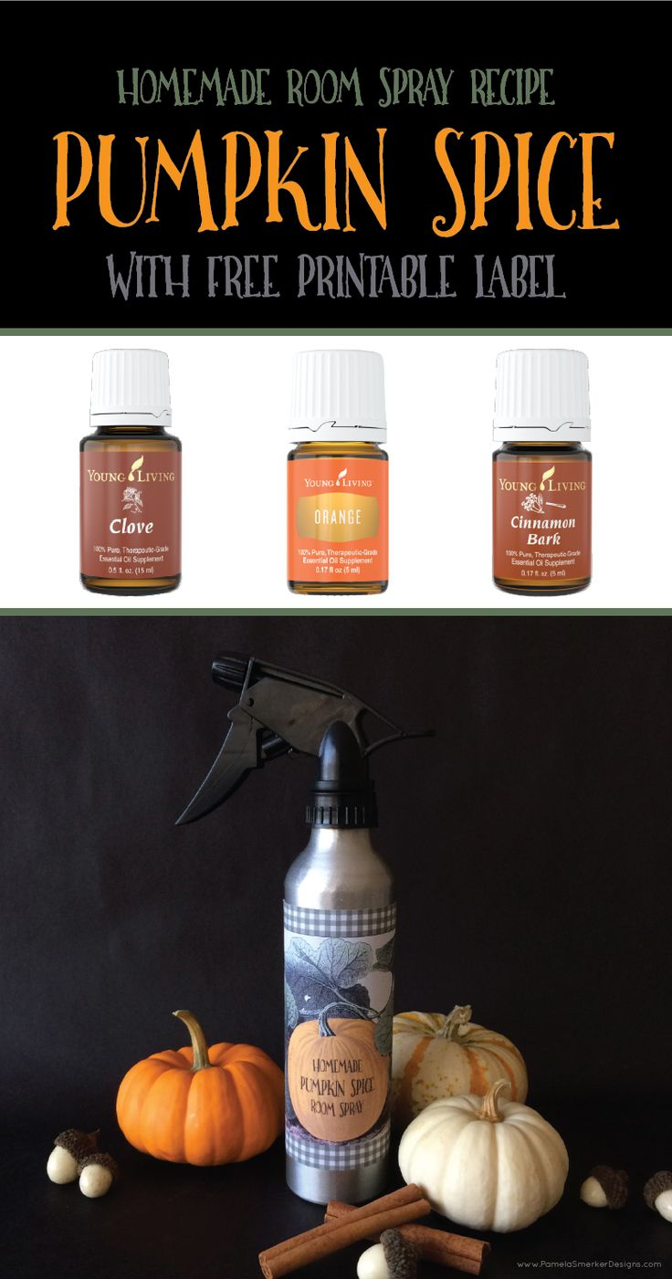 Simple Homemade Pumpkin Spice Room Spray Recipe with FREE Printable Label by Pamela Smerker Designs. Such a great DIY idea for all natural room spray with essential oils!! I can't wait to try this.