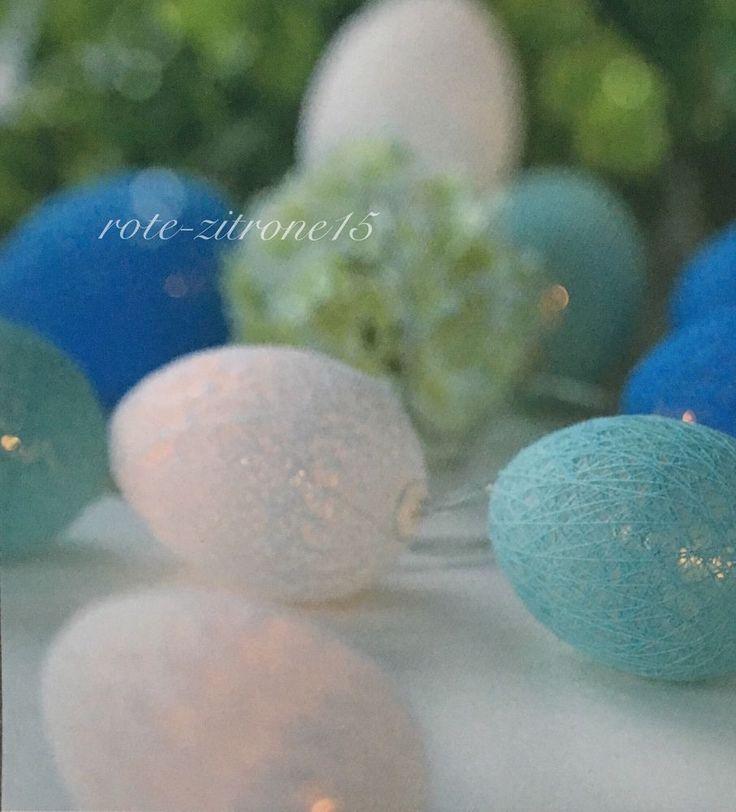 Lichterkette Oster Ei 10 Cotton Balls Spitze Stoff Party Deko LED Batterie Neu  | eBay