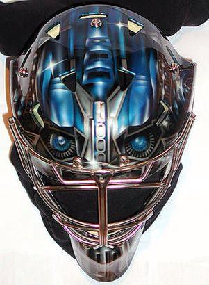 Toronto Maple Leafs Goalie James Reimer's Optimus Reim mask