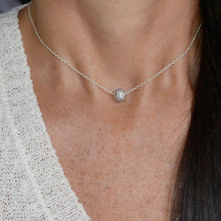 Quiero compartir lo último que he añadido a mi tienda de #etsy: Zircon Ball Choker - Silver Ball necklace - Charm Choker - Cubic Zirconia Ball - Delicate Choker - Disco Ball Bead - Shamballa Beads Choker
