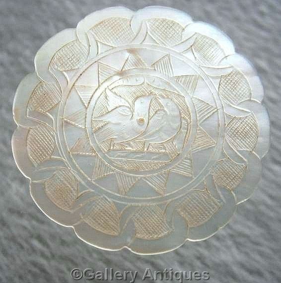 Sold 19th Century Antique Chinese Mother of Pearl Scalloped Large Circular Engraved Hand Made Gaming Counter / Silk Thread Winder