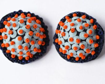 Handmade Bobble earrings and brooch embroidered by BobblesbyMoony