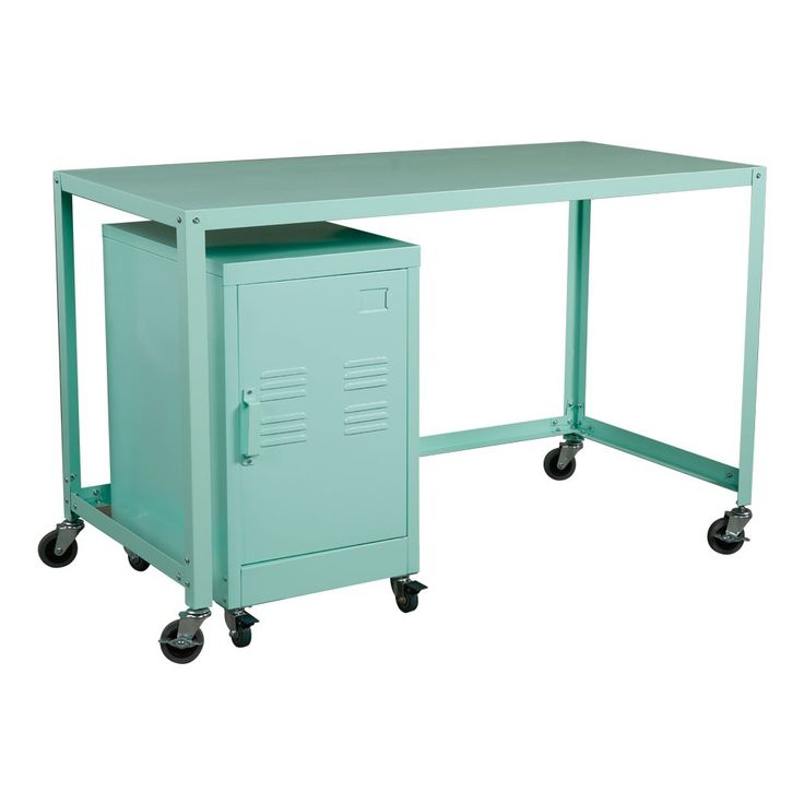 Industrial Collection Metal Rolling Desk/Cabinet Set - Mint. This Industrial Collection is a modern take on the Home Office. With its rugged steel construction and locking wheels, this mobile desk and rolling cabinet will work in any office environment.