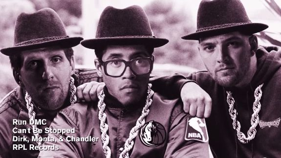 "The Dallas Mavericks big three of Dirk Nowitzki, Monta Ellis and Chandler Parsons form the other Run DMC and drop a track called ""Can't Be Stopped."""