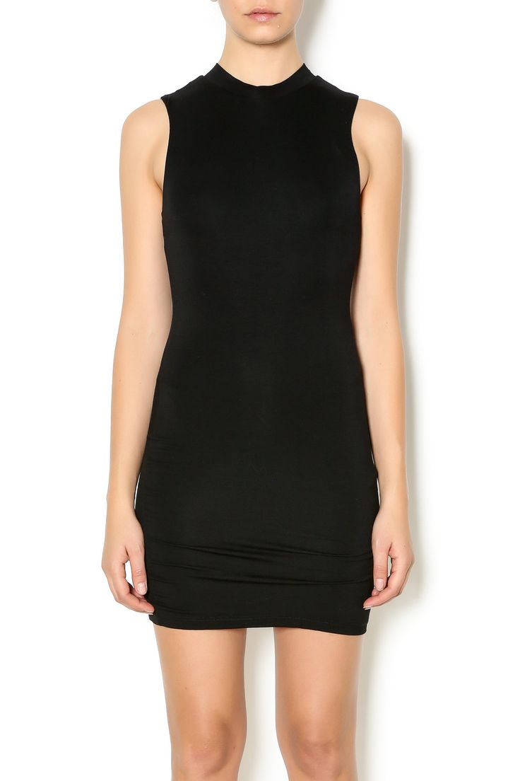 Black high neck dress with no sleeves and a length that hits mid-thigh.   Black High Neck Dress by BLQ . Clothing - Dresses - LBD Houston, Texas