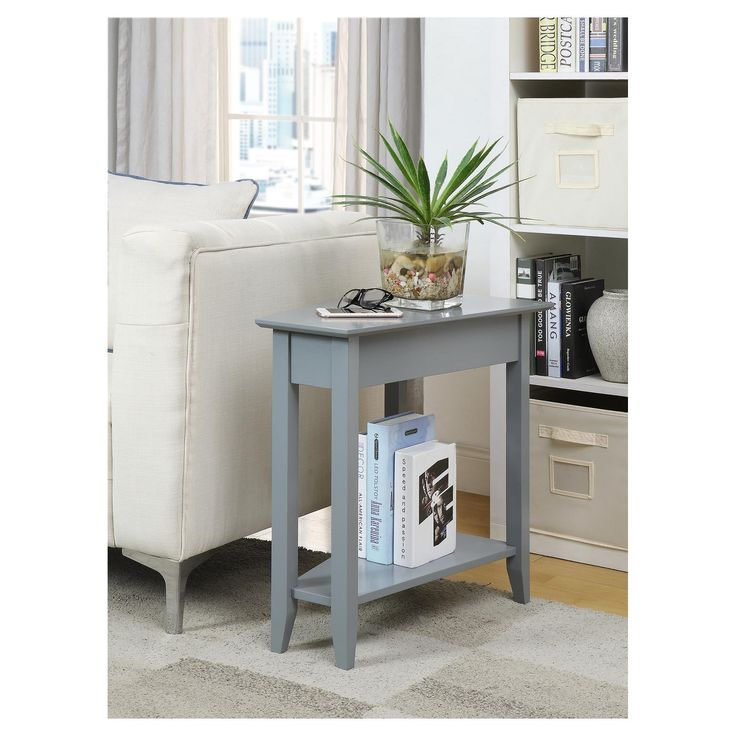 When you're looking for a truly unique accent, add the American Heritage Wedge End Table from Johar Furniture to your space. This rectangle end table features a tapered tabletop and bottom to create a wedge shape that brings one-of-a-kind style to your space. Decorate with vacation photos, accent pieces or fresh flowers for a touch of personal style.