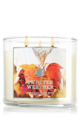 Sweater Weather 14.5 oz. 3-Wick Candle - Slatkin & Co. - Bath & Body Works (An aromatic blend of eucalyptus, juniper berry and fresh sage that celebrates the arrival of sweater weather.)