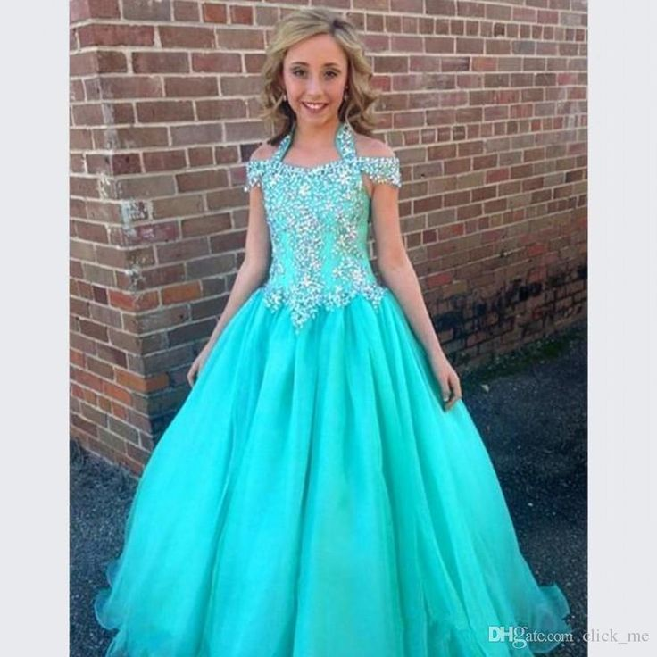 Halter pageant dresses for girls teens beadeds a line for Dresses for juniors for weddings