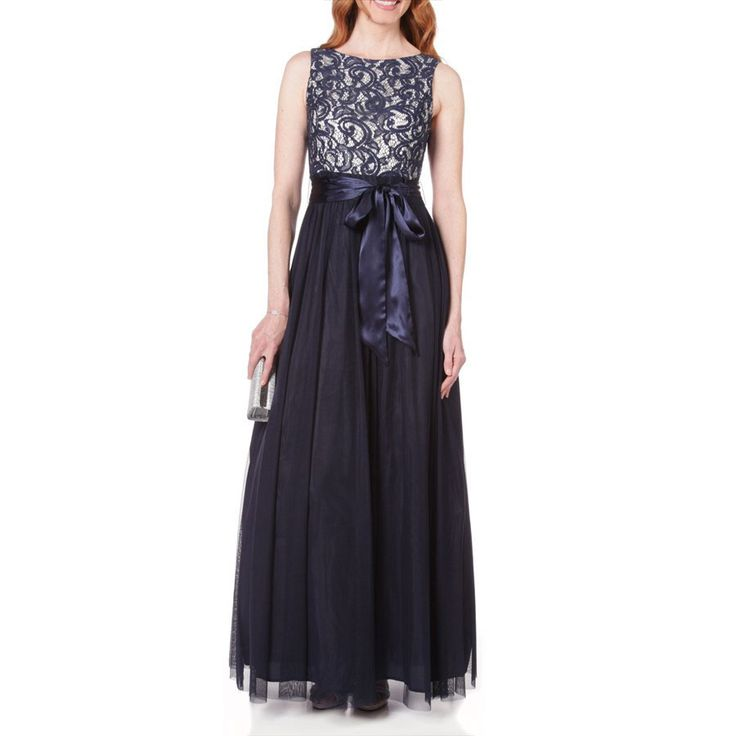 Jessica howard boat neck sequined lace to mesh dress at for Von maur wedding dresses