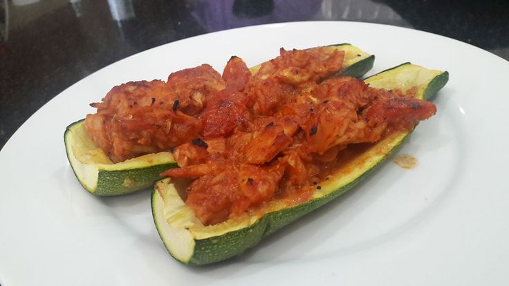Zucchini Boats, loaded with a tasty tomato and prawn mix. Love our local fresh phuket seafood.