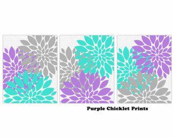 Turquoise Lavender Gray Flower Burst Wall Art Chevron Purple Botanical Art SET of 3 Prints for Girls Nursery Wall Art Bedroom Decor 233