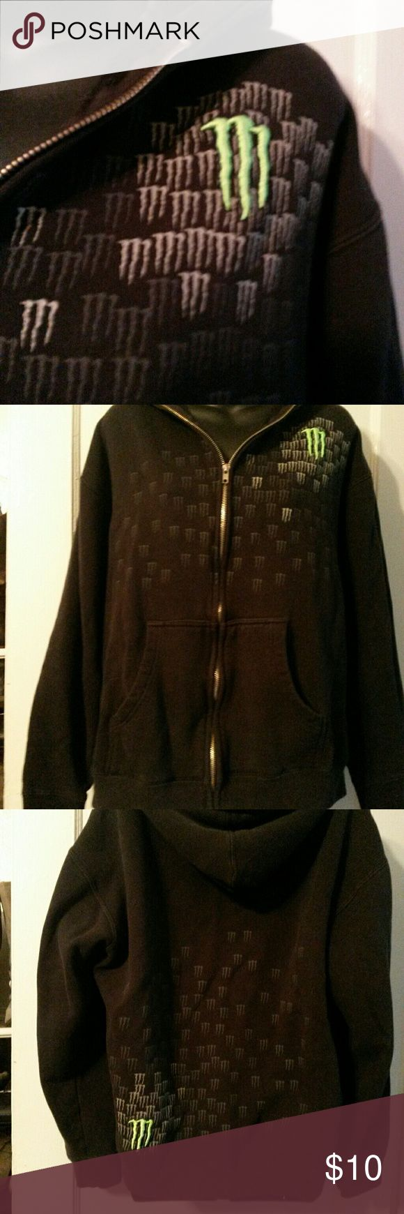 """Monster"" hoodie Monster energy drink black zip up hoodie. Has monster logo in neon green on top of left shoulder and back left near bottom.  Also has littler ones on front and back.  Has small darker black mark on front near pocket. Tried to post pic but camera wouldn't show it. monster energy Shirts Sweatshirts & Hoodies"