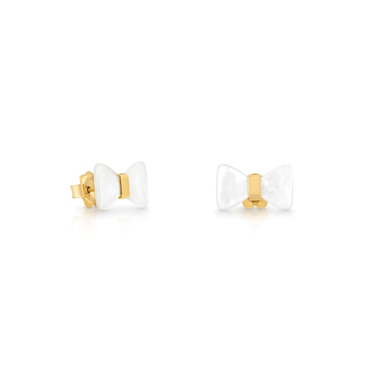 """18kt yellow gold TOUS Fermé earrings with mother of pearl. Stud lock. 1,5cm. - 9/16"""".  TOUS DC"""