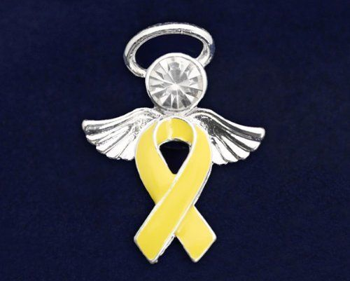 Yellow Ribbon Pins - Angel Tac (36 Pins) by Fundraising For A Cause. $83.00. Wear a ribbon - a symbol to share of hope, strength, and courage to show all that you care. The body of the angel is a yellow ribbon with angel wings and halo. This pin is approx 1 inch by 3/4 inch. Each yellow ribbon ribbon pin comes in a gift box with cotton insert.  You get 36 pins.