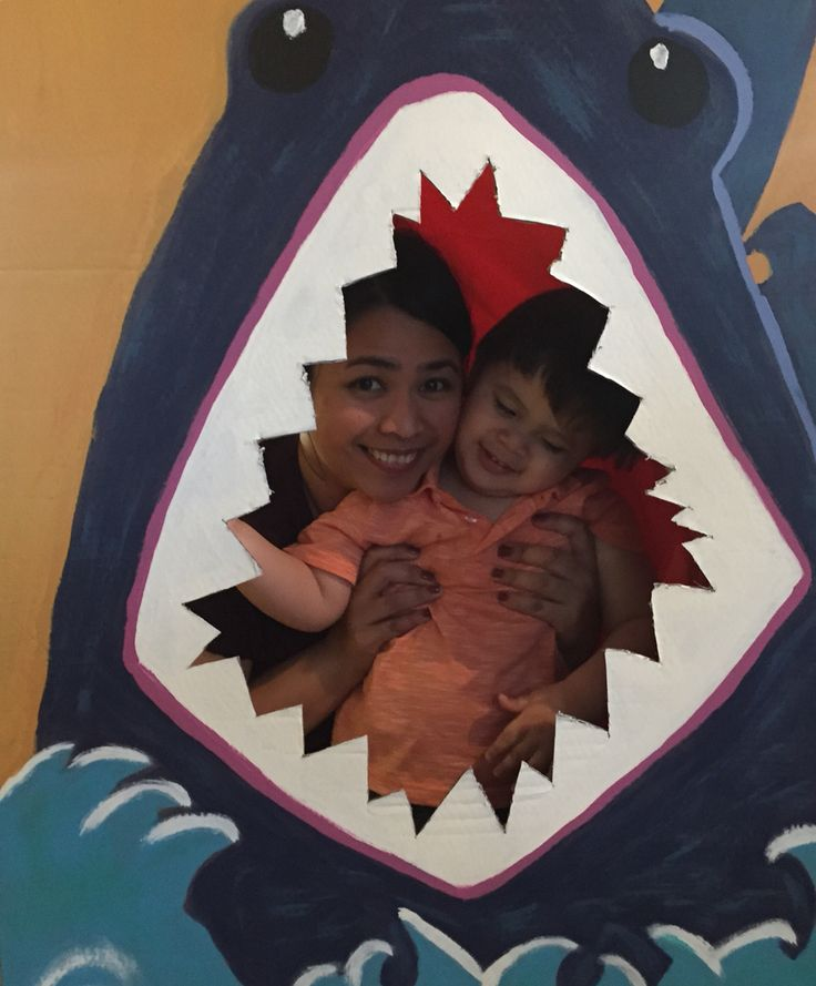 Shark photo booth!!! What happens when you leave me with Pinterest, paint and lots of cardboard
