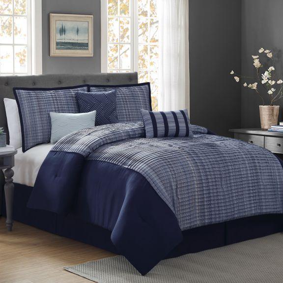 Facet Stripe 7pc Navy Blue Comforter Set Blue Comforter Sets Bedroom Comforter Sets Comforter Sets