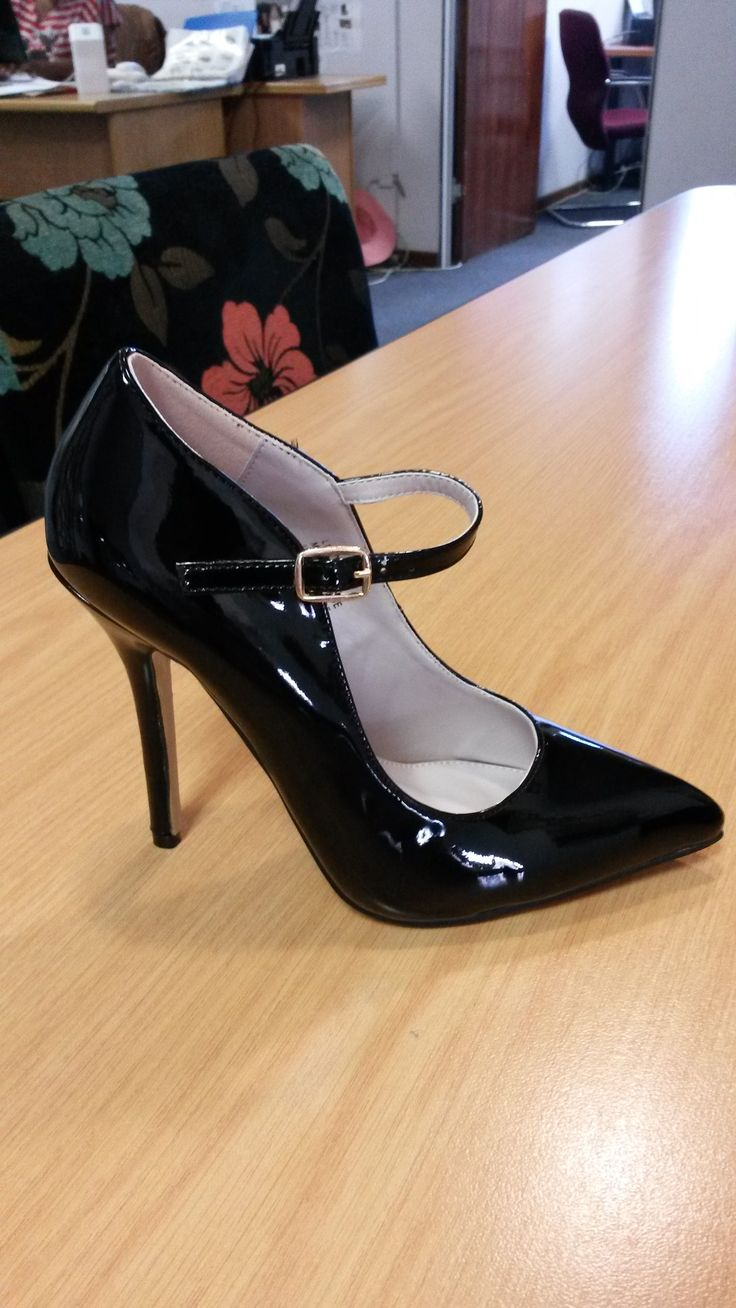 Black Patent Leather High Heeled Court with Ankle Strap by Sissy Boy
