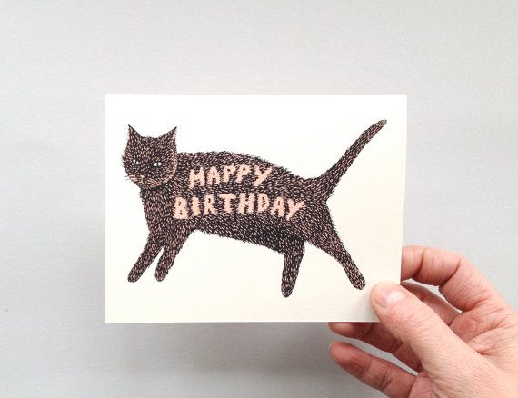 HAPPY BIRTHDAY KITTY  Screen Printed Greeting by triangletrees