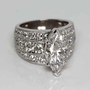 Marquise Shaped Diamond Engagement Ring from Oliver Smith Jeweler.