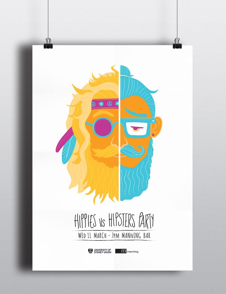 Hippies Vs. Hipsters Party Poster