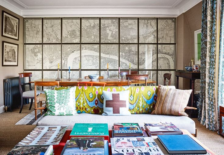 living room mix, map as wallpaper, pillow pattern mix