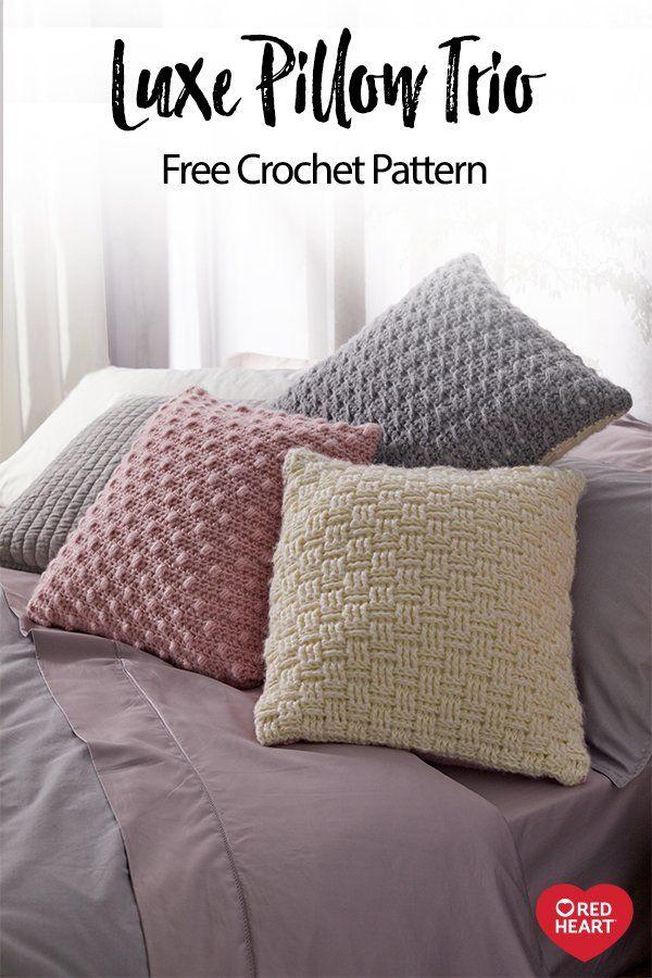 Luxe Pillow Trio Free Crochet Pattern In Dreamy Yarn This Soft Brushed Yarn Works U Crochet Pillow Patterns Free Crochet Cushion Cover Crochet Pillow Pattern