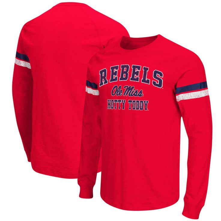 Ole Miss Rebels Colosseum Huddle Up II Striped Long Sleeve T-Shirt - Red
