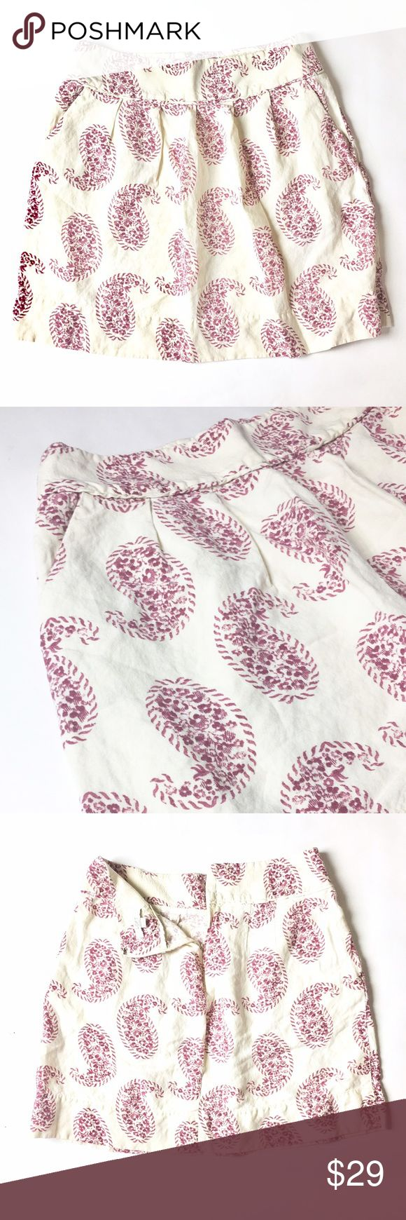 LOFT Petite Skirt Details: LOFT cream Petite skirt with paisley pink print. Size 4P in great condition.   Kate Harrington Boutique does not trade or negotiate price in the comment section. However, for most items we may consider reasonable offers.   Happy Poshing! LOFT Skirts