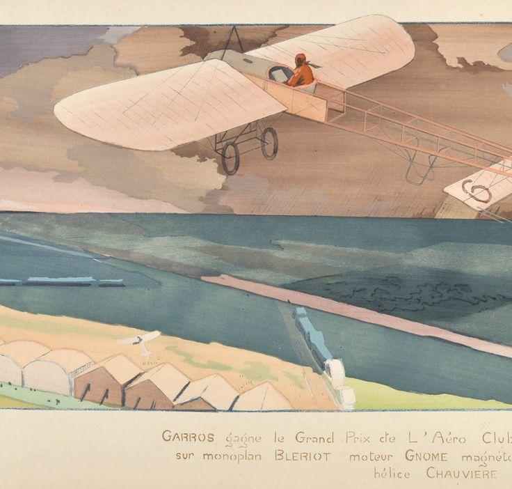 Gamy Montaut Poster 1910 Doppeldecker Flugzeug Luftfahrt Airplane Plane Biplane