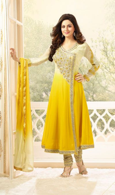USD 86.57 Cream and Yellow Karachi Work Designer Suit 40215