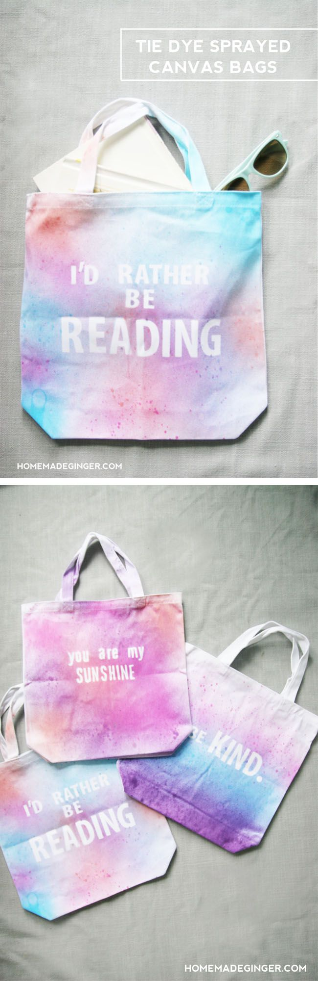 Make some tie dye sprayed canvas bags to say any word or phrase that you want! They are so easy and mess free! #tiedyeyoursummer @ilovetocreate
