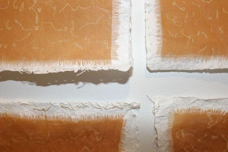 Maryann Mussared - Steganography detail - handmade paper, mornogami technique, silk chiffon, natural dyes - 2014, Strathnairn by the Lake exhibition, Belconnen Arts Centre, August-Sept 2014