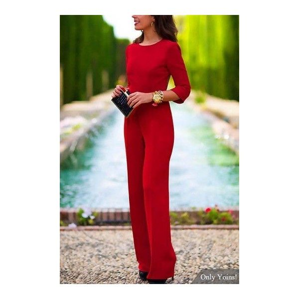 Yoins 3/4 Length Sleeves Backless Jumpsuit ($21) ❤ liked on Polyvore featuring jumpsuits, red backless jumpsuit, backless jumpsuit, jump suit, red jumpsuit and red jump suit