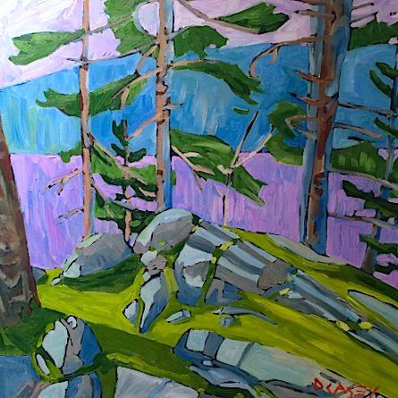 Pink Lake by David Casey. Ottawa artist, Canadian artist, landscape art, SANTINI GALLERY.