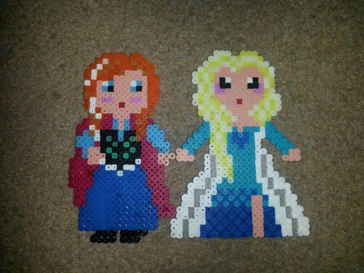 Mini-hama Anna & Elsa from Frozen