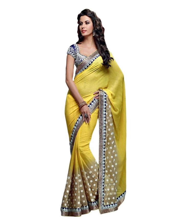 Zemi Designer Yellow Chiffon Ethnic Party Wear Saree, http://www.snapdeal.com/product/zemi-designer-yellow-chiffon-ethnic/1123980200