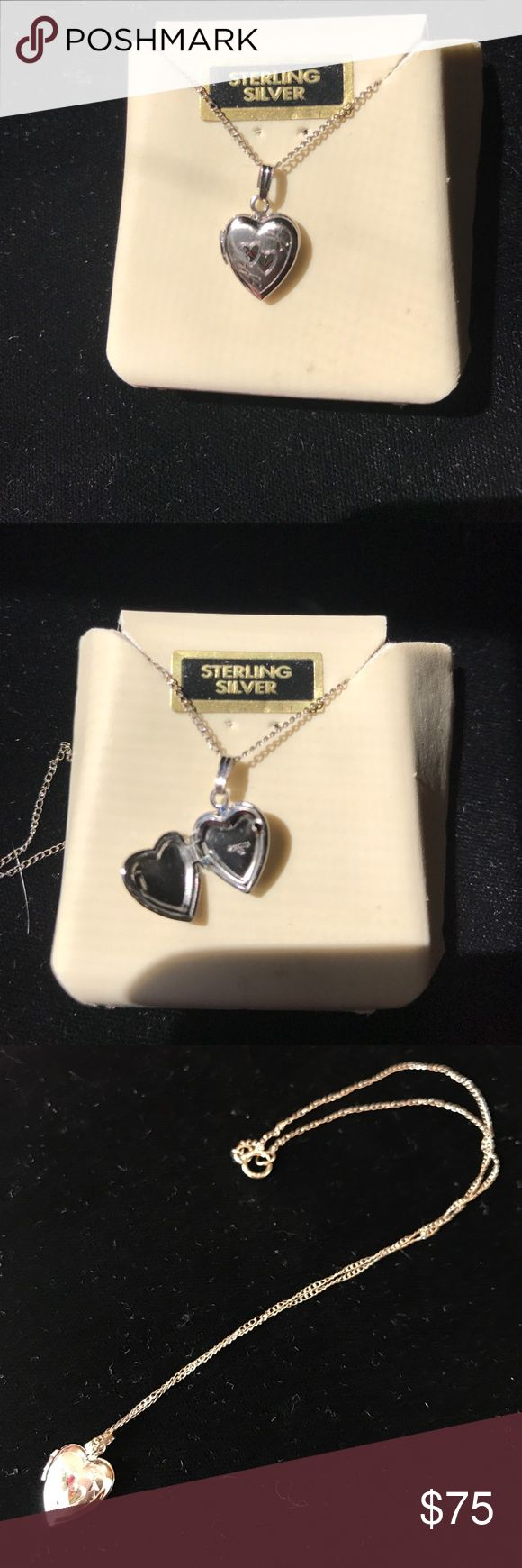 Little Girl's Sterling Silver Locket Necklace NEW! The beauty is in the detail. Heart shaped locket with engraved hearts. Very fine chain. Real Sterling silver. No trades or lowball offers please. Tru Kay Jewelry Necklaces