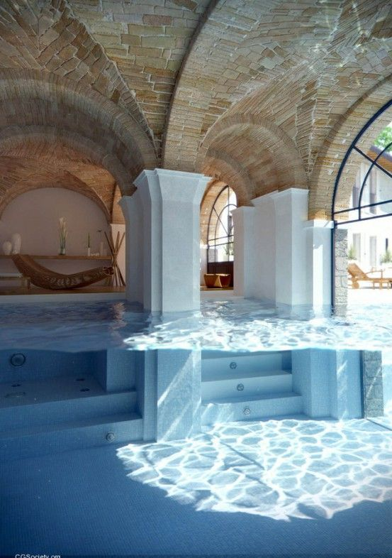 My fantasy house (not dream house) would have an indoor/outdoor pool set up like this.