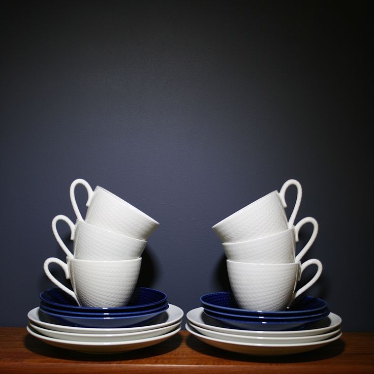 """Blå eld"" coffee cups designed by Hertha Bengtsson for Rörstrand, Sweden."