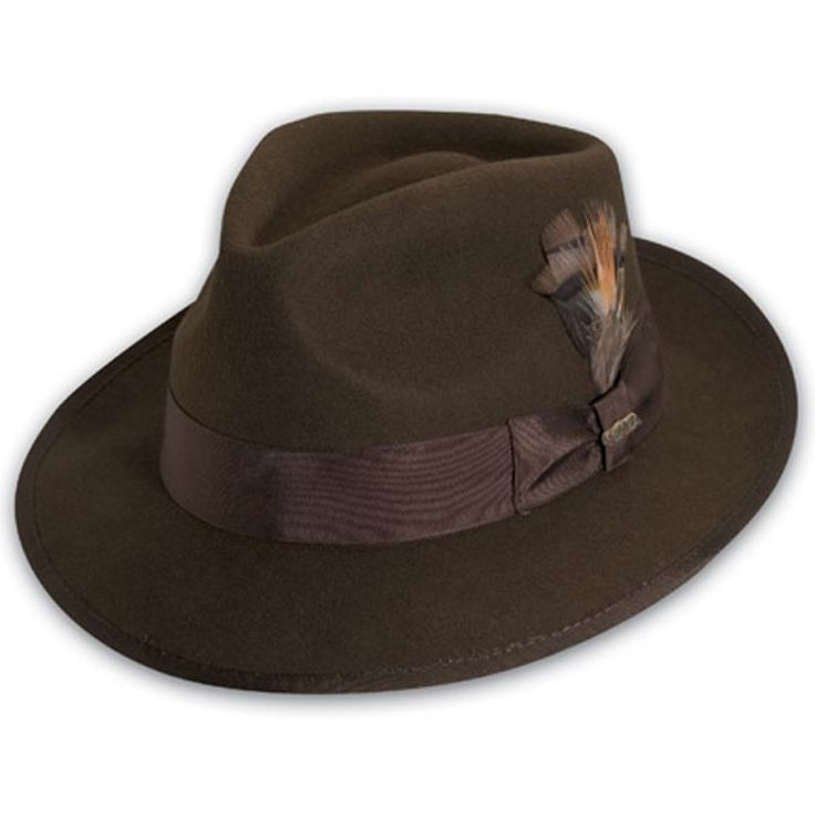 Scala Clarkton - Wool Fedora Hat $48.00   Our customers can't get enough of the Clarkton fedora from Scala. This structured wool felt fedora is a stylish dress hat that will top off any outfit perfectly. It is decorated traditionally with a 16-ligne grosgrain hat band with hat pin and feather. This class act design also includes satin lining and a leather sweatband inside.