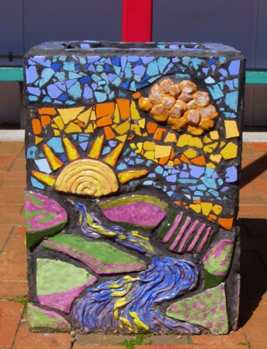 Auckland NZ Pt Chevalier School: Series of three pots - sunrise - midday - sunset  Hand made clay tiles