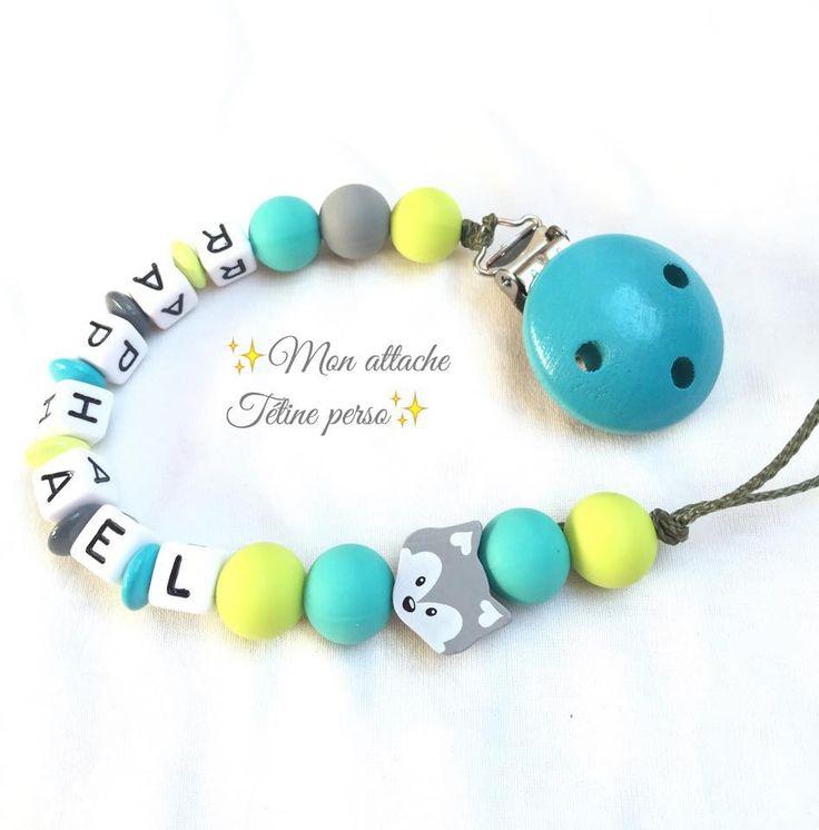 attache tétine personnalisée perles en bois ~ modèle renard silicone : Puériculture par mon-attache-tetine-perso