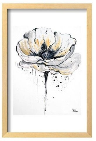 """Art.com Black and White Poppies II by Patricia Pinto Framed Poster 13""""x19"""""""