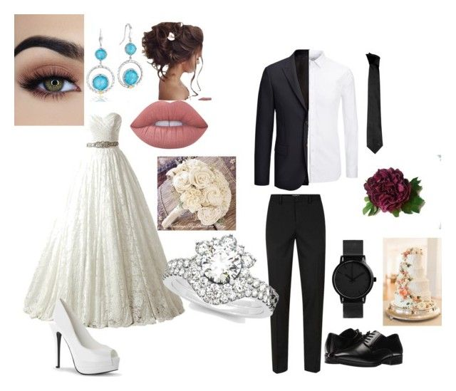 """Wedding"" by chiepp ❤ liked on Polyvore featuring Tacori, Lime Crime, Joseph, Topman, Stacy Adams, Versace, Sola, Allurez, bride and wedding"