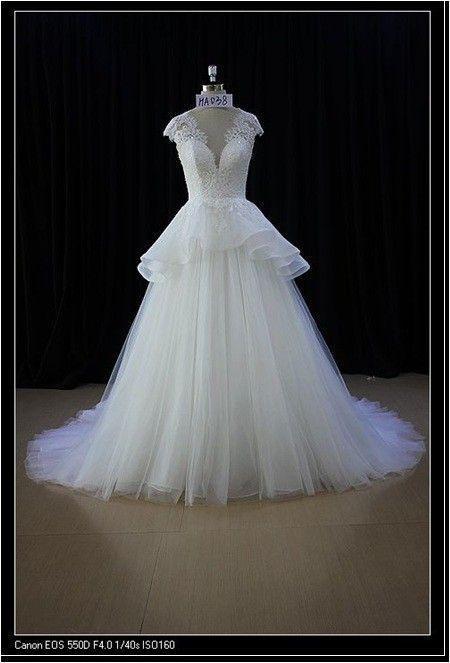 style ha038 peplum wedding dress with cap sleeves